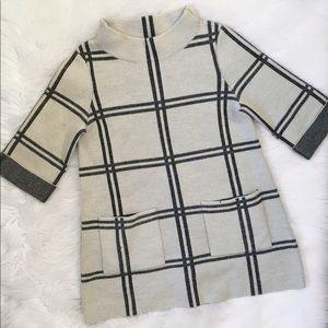 Anthropologie Moth Windowpane Wool Sweater Tunic